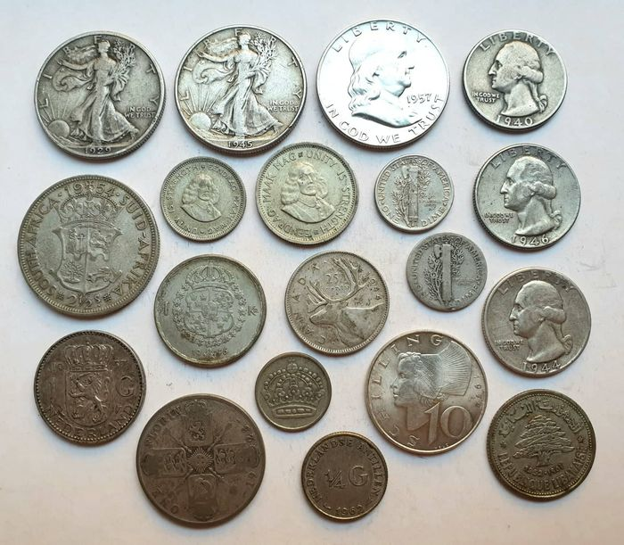 World - Lot various coins 1927/1964 (19 pieces)  - Silver