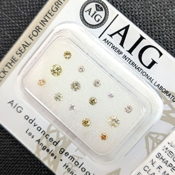 14 pcs Diamanten - 0.45 ct - Briljant - Fancy Mix Color - SI1, SI2, VS1, VS2, VVS1, VVS2, No Reserve Price