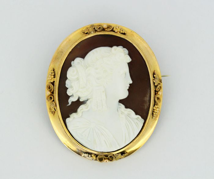 Victorian - 15 kt. Gold - Brooch Carnelian cameo