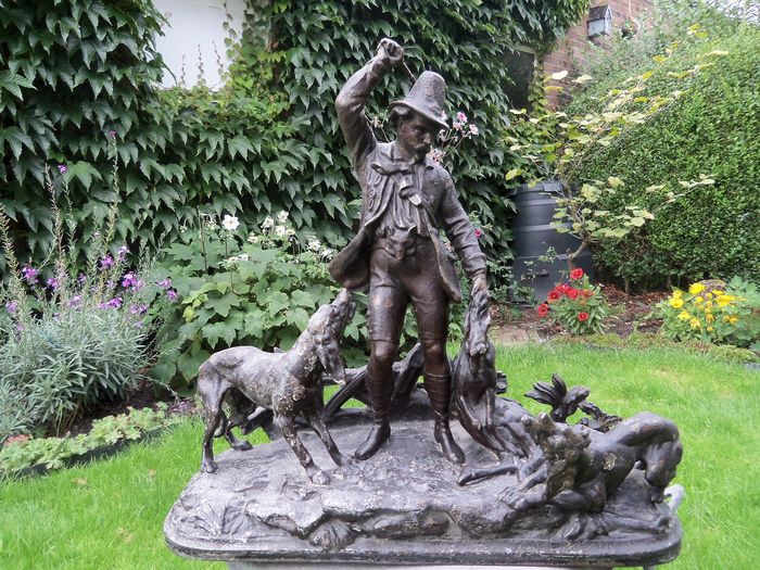Sculpture, Hunting scene - Alloy - Second half 19th century