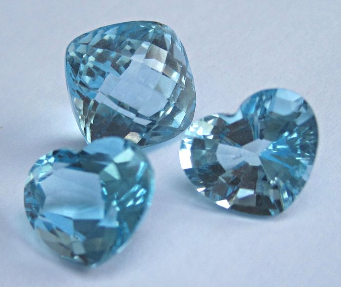 3 pcs Blau Topas - 23.65 ct
