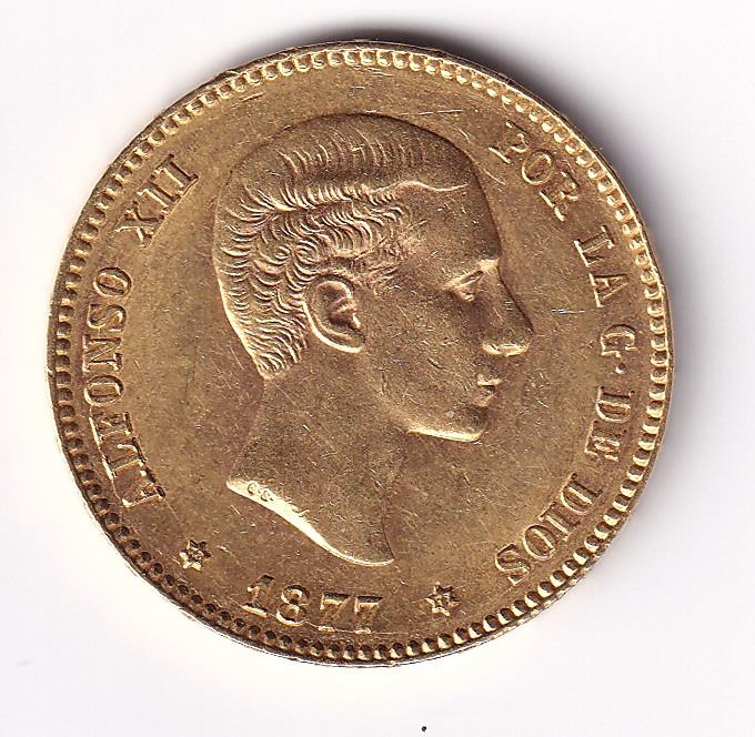 Spain - 25 Pesetas 1877-M Alfonso XII - Gold