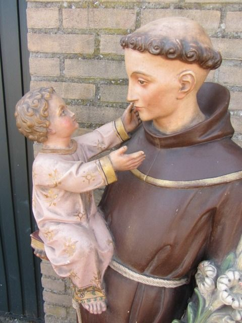 Sculpture, Antonius of Padua with baby Jesus - 137 cm - Plaster, Wood - about 1900