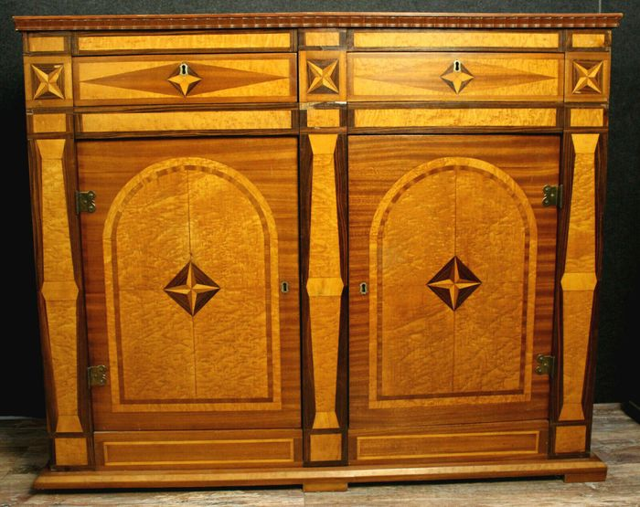 Superb living room cabinet Charles X in noble woods