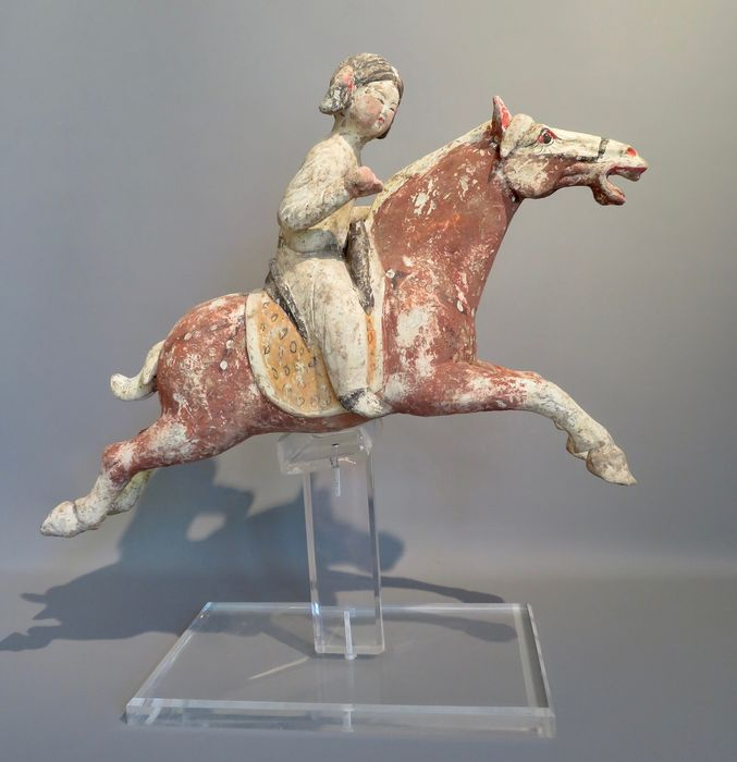 Mingqi - Terracota - Female polo rider, with TL test - China - Dinastía Tang (618-907)