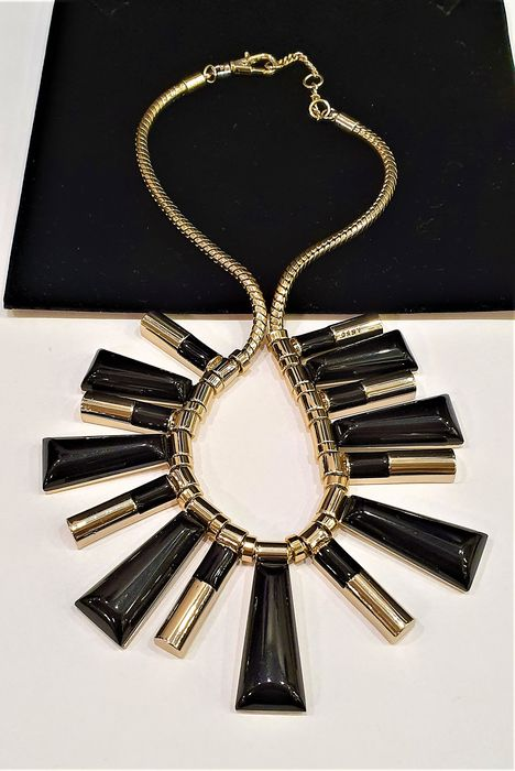 DONNA KARAN -New York  Haute Couture Exclusive gold black tassle Necklace