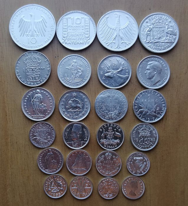 World - Lot of various coins 1871/1991 (24 pieces)  - Silver