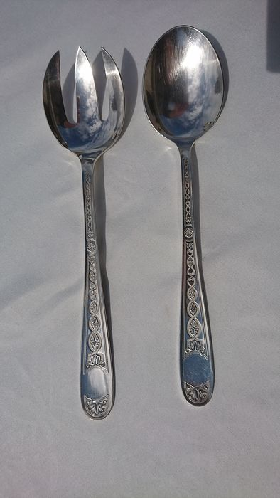 Salted Villeroy cutlery - Silverplate - Christofle  - France - mid 20th century