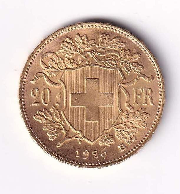 Switzerland - 20 Francs 1926-B Vreneli - Gold