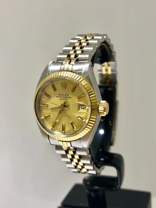 Rolex - Oyster Perpetual Lady Date. Steel & Gold. - 6916 - Femme - 1980-1989