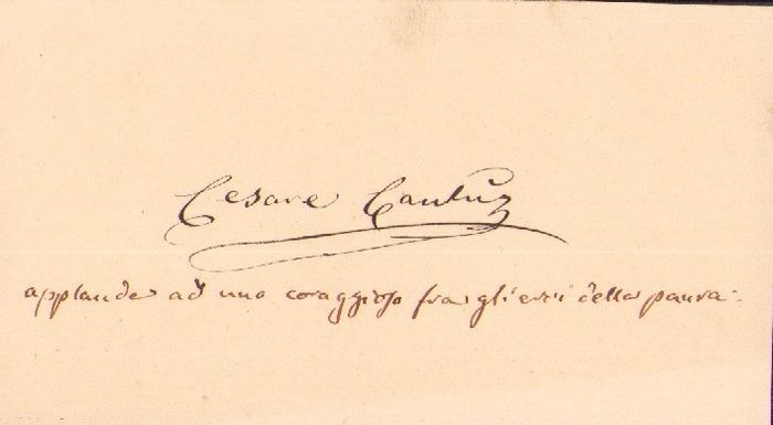 Cesare Cantù Italian Writer - Autograph; Business Card (not signed) plus Envelope - 1870