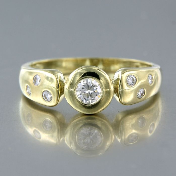 14 carats Or jaune - Bague - 0.32 ct Diamant