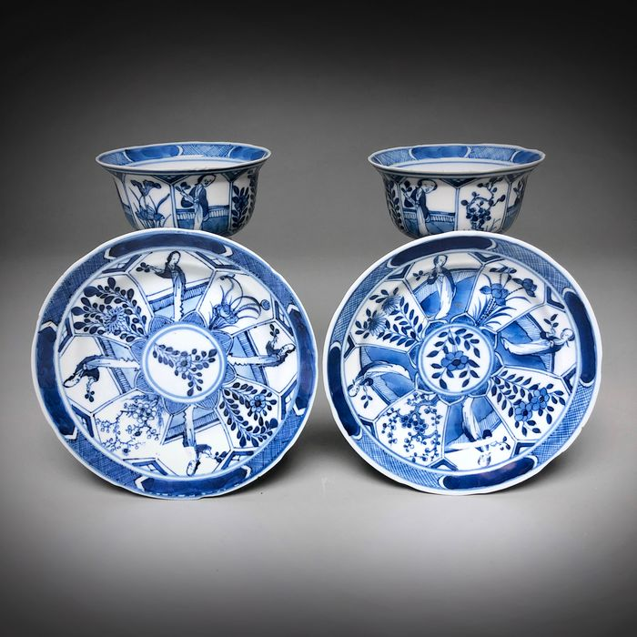 Cup, Saucer - Blue and white - Porcelain - Chinese ladies - China - 19th century Kangxi marks