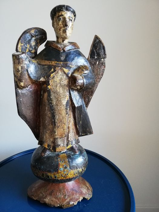 Sculpture, friar with wings, devotional object (1) - Wood - XVIII-XIX century