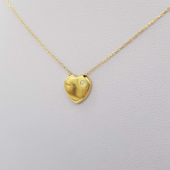 18 kt. Yellow gold - Necklace with pendant - 0.02 ct Diamond