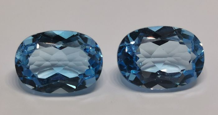 Blue Topaz Pair - No Reserve Price - 16.94 ct