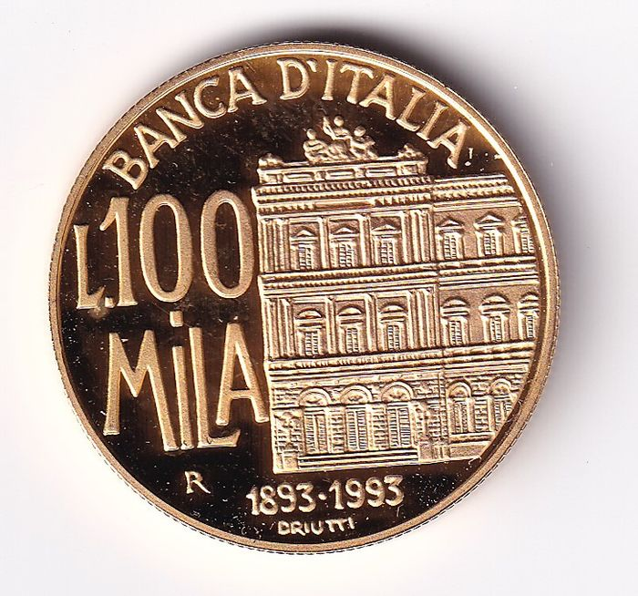 Italie - 100.000 Lire 1993 Anniversary of the Bank of Italy - Or
