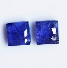 2 pcs  Tanzanite Flat Rose Cut - 7.00 ct