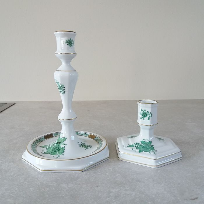 Herend Apponyi green candlestick (2) - Porcelain