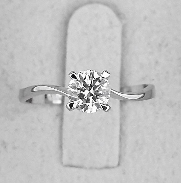 14 kt. White gold - Ring - Clarity enhanced 0.52 ct Diamond