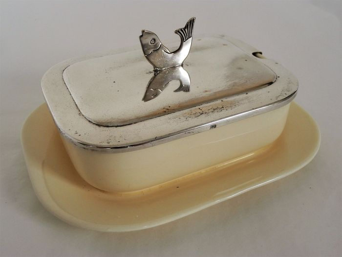 WMF - Art Deco porcelain butter sauce tray and / or caviar tray with a silver-plated lid