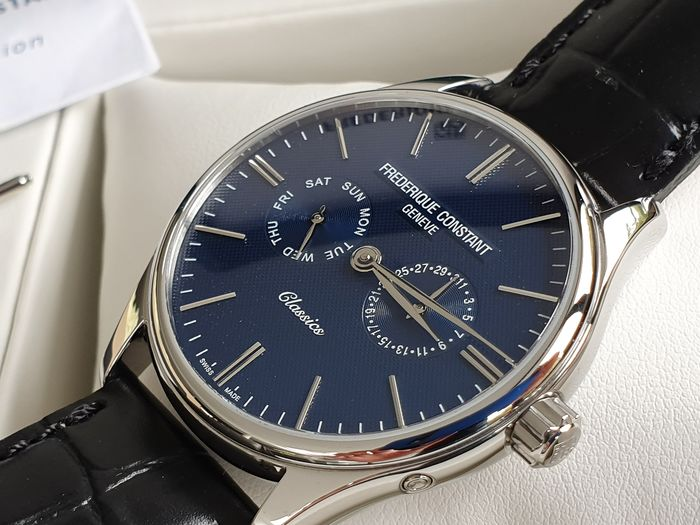 Frédérique Constant - luxury Blue dial men day and date display unworn with elegant Black leather strap - Men - 2019