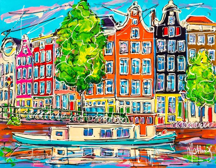 Mathias - Canal of Amsterdam, blue boat.