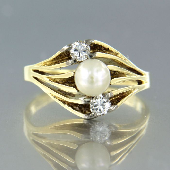 14 carats Or jaune - Bague Perle - Diamant