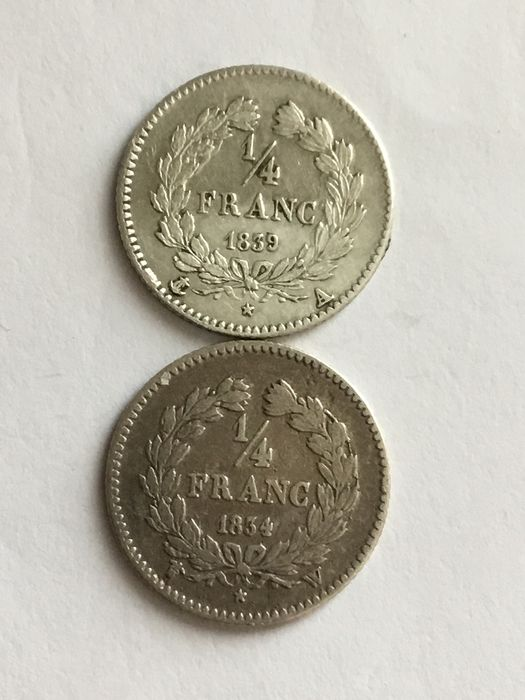 France - 1/4 Franc 1834-W & 1839-A Louis Philippe I (2 coins) - Silver
