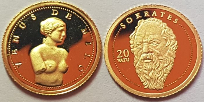 Andorra, Vanuatu - Dinar 2008 'Venus' + 20 Vatu 'Socrates' with a Certificate of Authenticity - Gold