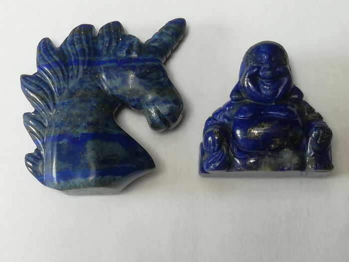 Hard Stone Large Lapis Lazuli Unicorn - Top Quality and lapis Maitreya Buddha Mineral collection - 50 x 49 x 18 mm - 51 g - (2)