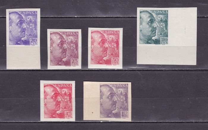 Espagne 1939 - Franco. Sánchez-Toda imprint. Imperforated stamps including the key value. - Edifil 867s/71s, 877s