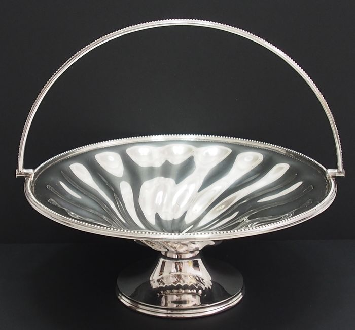 Fruit Dish on Stand with Carry Handle By Daniel & Arter  - Silverplate