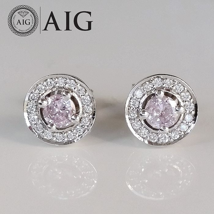 0.42ct Natural Fancy Intense Pink - 14 kt. White gold - Earrings - Diamonds, ***No Reserve Price***