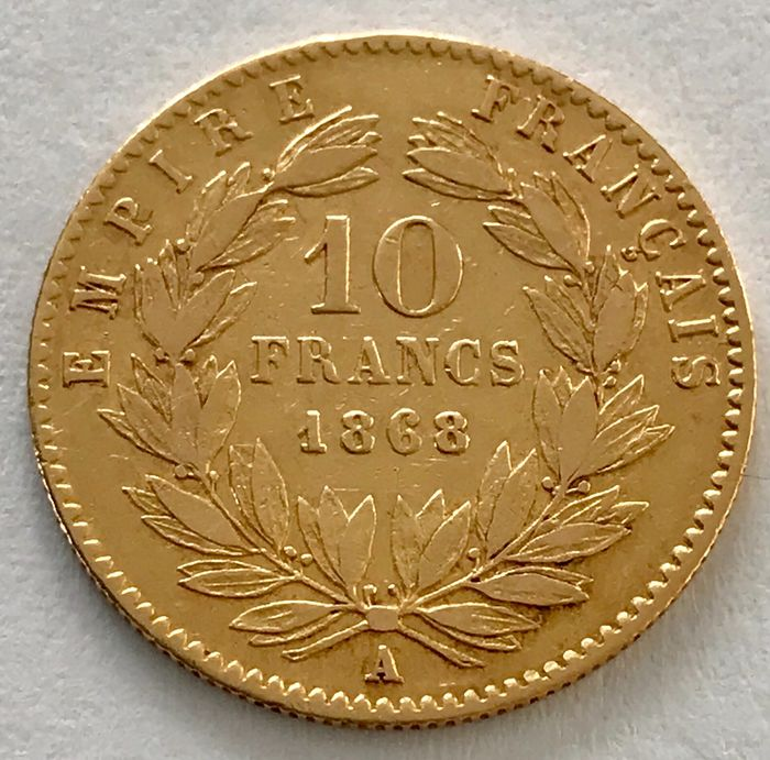 France - 10 Francs 1868 A - Napoleon III. - Gold