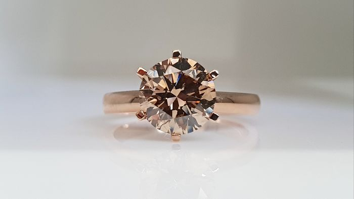 14 kt. Pink gold - Ring - Clarity enhanced 2.17 ct Diamond