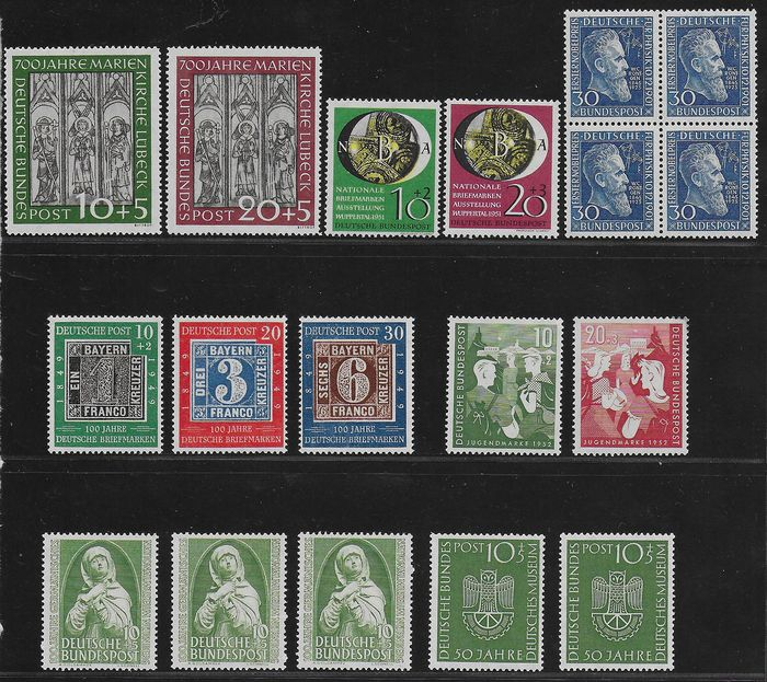 République fédérale d'Allemagne 1949/1953 - Better sets from the early years - Michel 113 / 115, 139 / 140, 141 / 142, 147, 151, 153 / 154 and 163