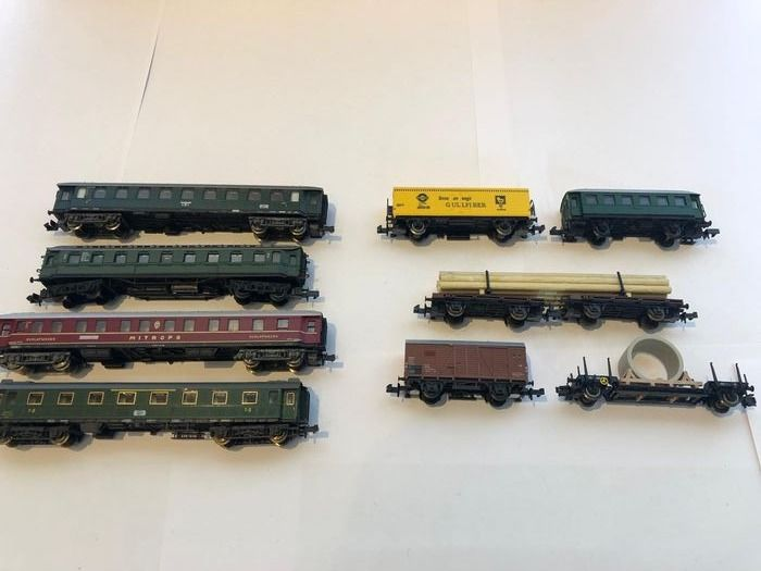 Fleischmann, Minitrix, Roco N - Freight carriage, Passenger carriage - 9 different ones - DB, DR (DDR), SNCF