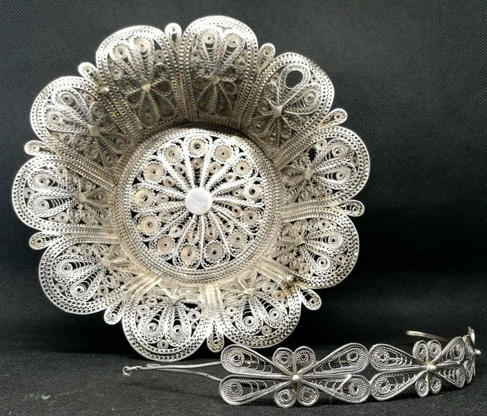 Fabulous Silver Filigree Basket - Silver - Italy - Early 20th century