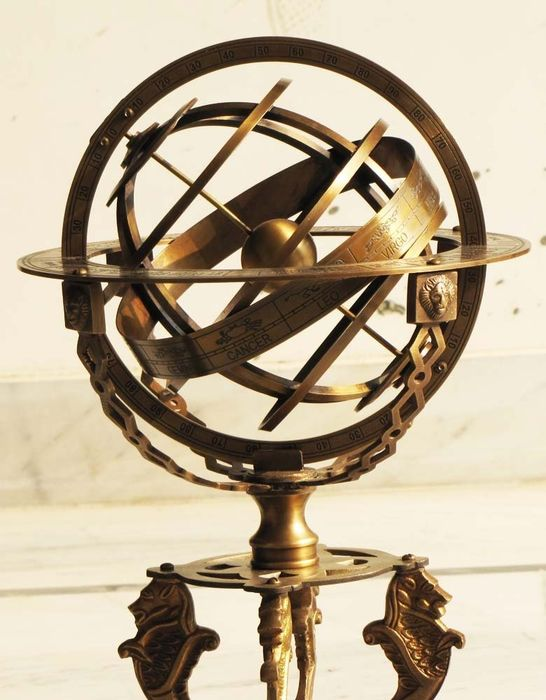Large Armillary sphere globe with sundial compass - Brass on a beautiful rosewood base - 43 CM HIGH!