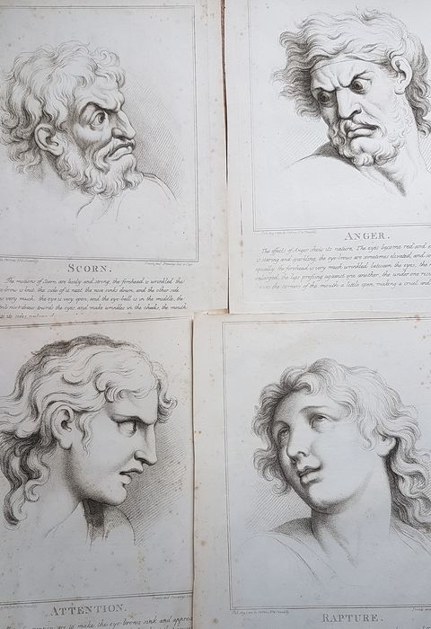 Four etchings after Charles Le Brun - The Passions of the Soul; Scorn, Anger, Attention, Rapture