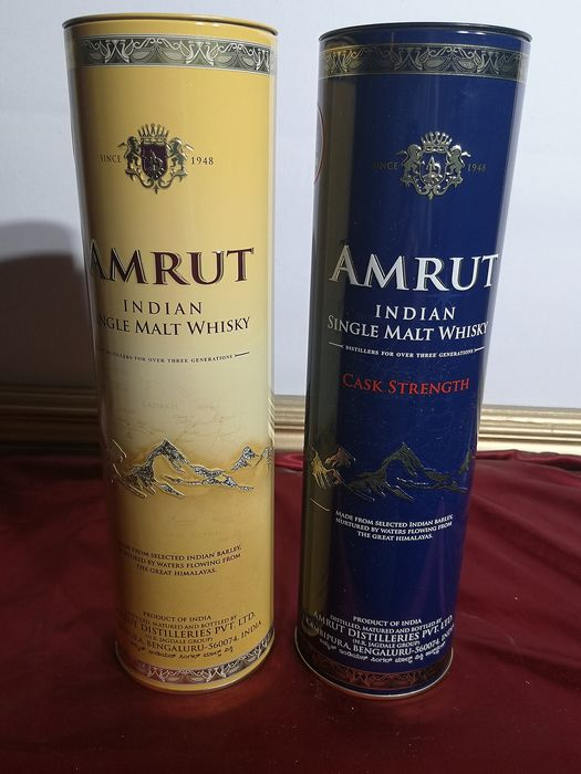 Amrut Indian single malt  & Cask Strength - 0.7 Ltr - 2 bottles