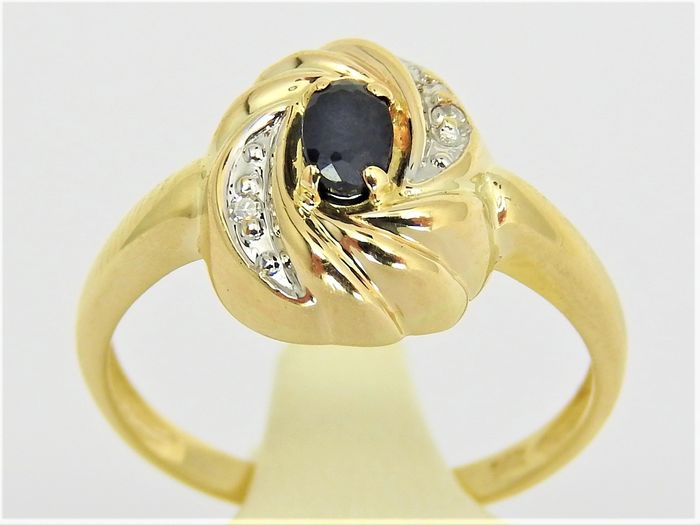14 kt. Yellow gold - Ring - 0.15 ct Sapphire - Diamond