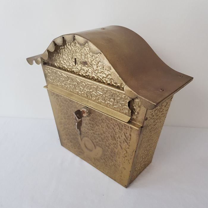 Copper letterbox with a lock and key - copper