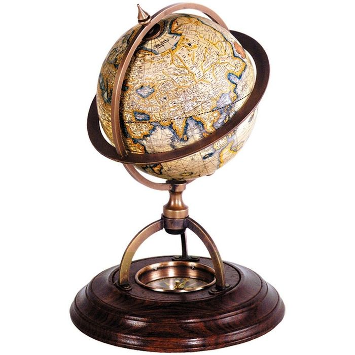 Gerardus Mercator Terrestrial Globe With Compass - Copper, Paper, Wood