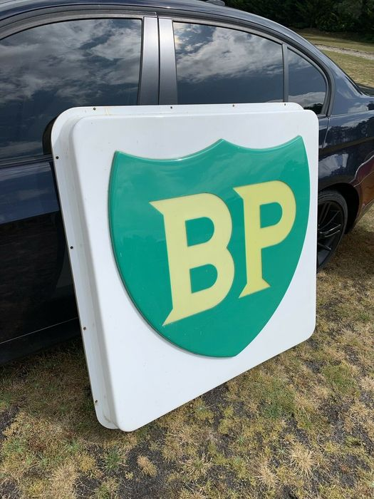 Sign - BP - Rare - Large BP illuminated Garage Adverting Sign Petrol Oil - 1980-1990