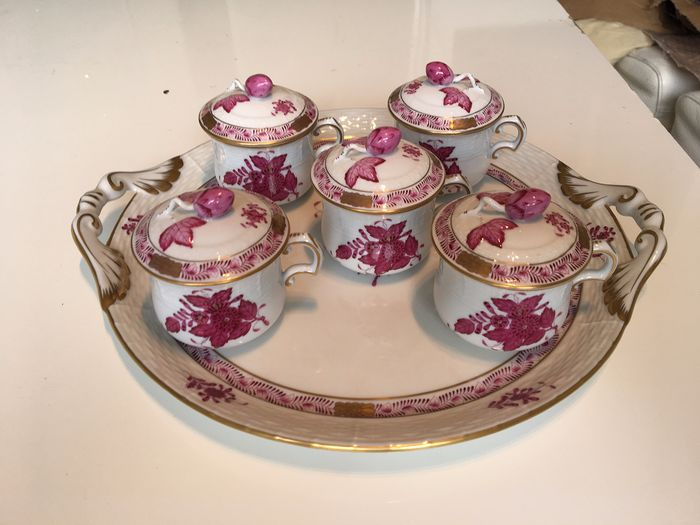 Herend - Apponyi bouquet rose cups with lid (11) - Porcelain