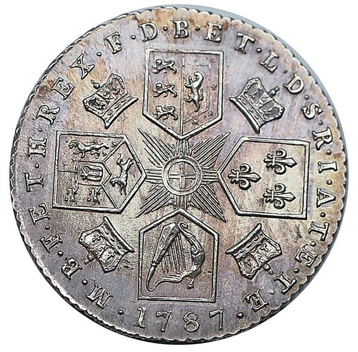 Great Britain - 6 Pence 1787 (Hearts) George III   - Silver