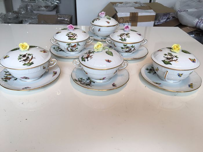 Herend - Rothschild birds soup bowls with lid (18) - Porcelain