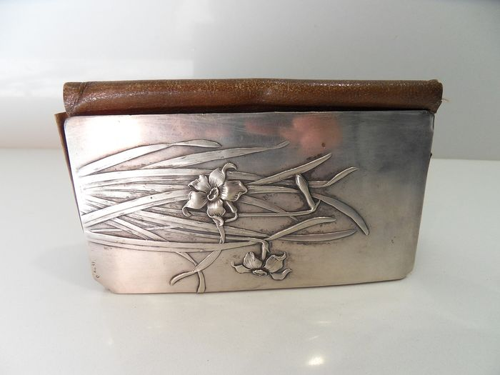 Leather and silver wallet - .800 silver - Germany - mid 19th century